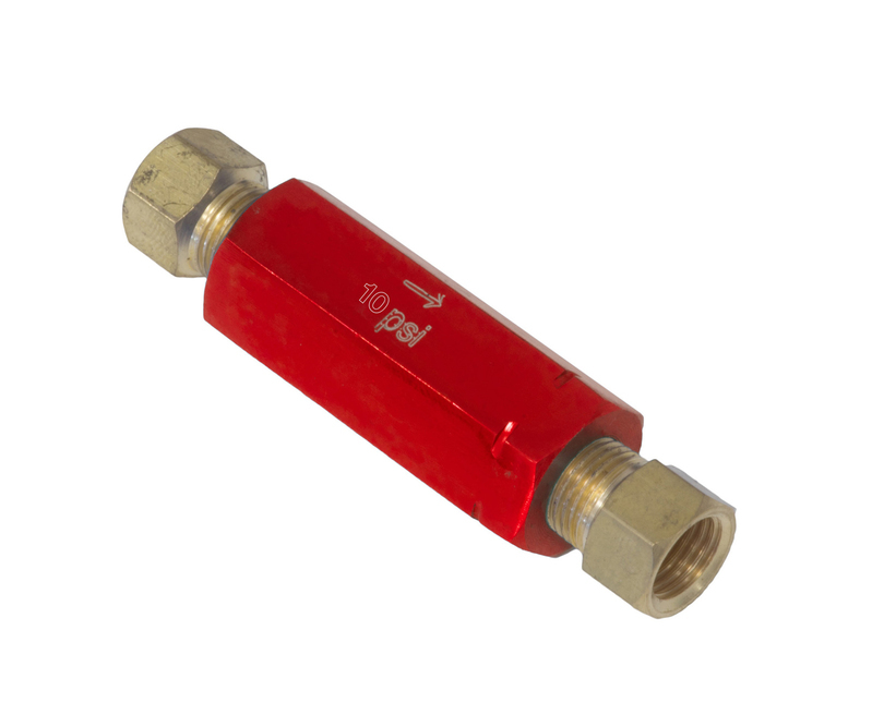 Residual Pressure Valve, Red Anodised, 10 psi, Drum Brakes, 1/8 in. NPT Female Inlet/Outlet, Each