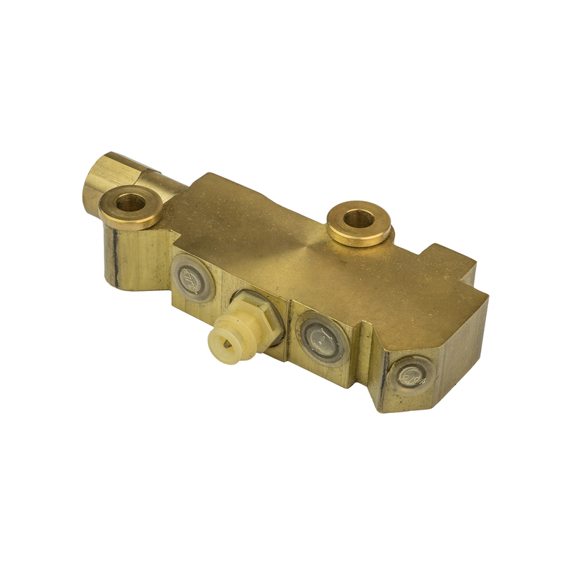 Brake Proportioning Valve, Fixed, Dual Inlet, 3 Outlets, Brass Front Disc/Drum Brakes