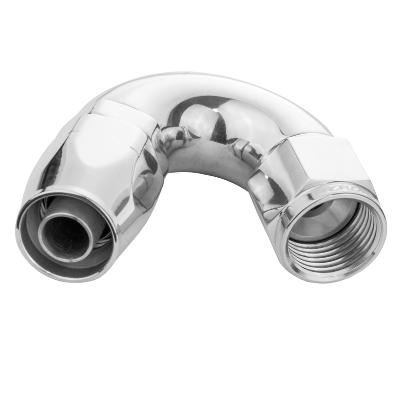 Fitting Hose End 120 Degree Full Flow -08AN, Polished