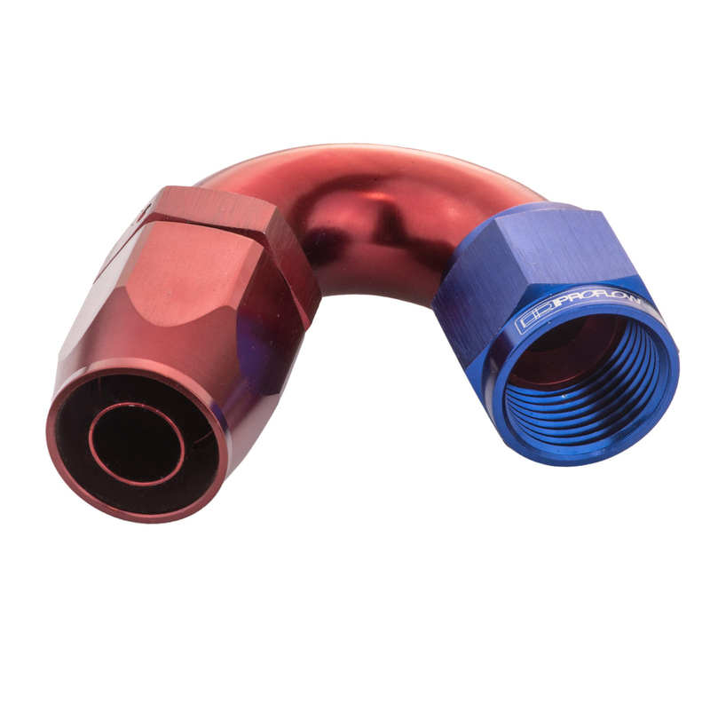 150 Degree Cutter Fitting Hose End -06AN Blue/Red