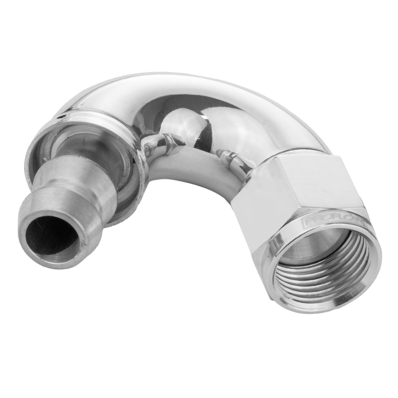 150 Degree Forged Push On Fitting Hose End -06AN Polished