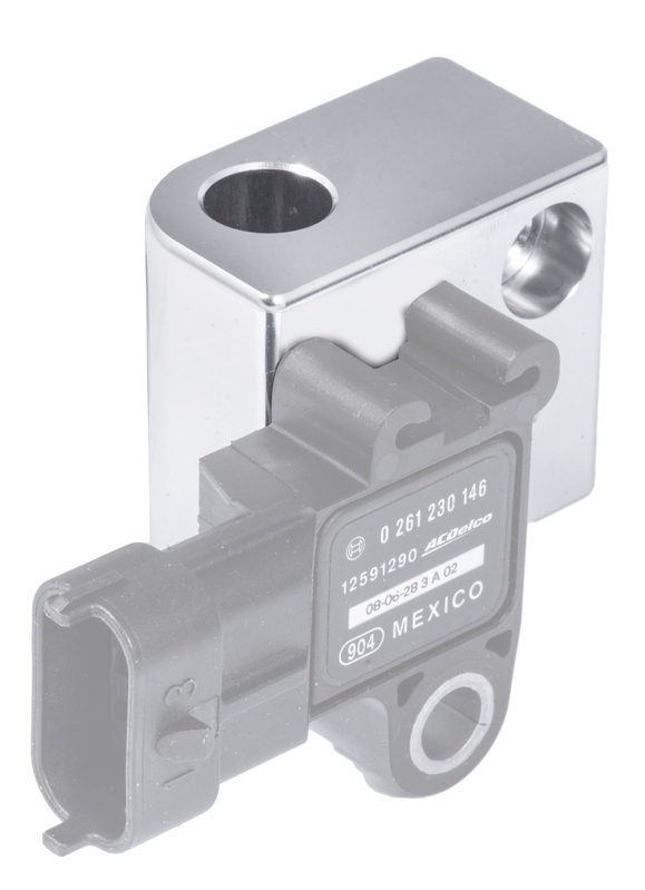 GM LS Engine MAP Sensor Relocation Block, Silver