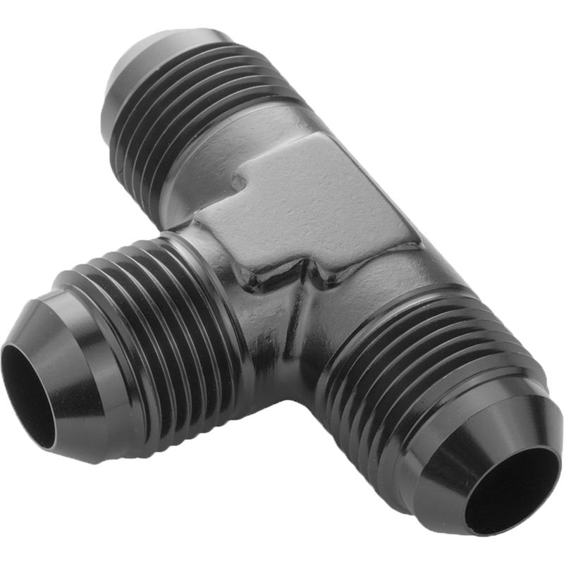 Male Flare Union Adaptor -10AN Flare Tee Black