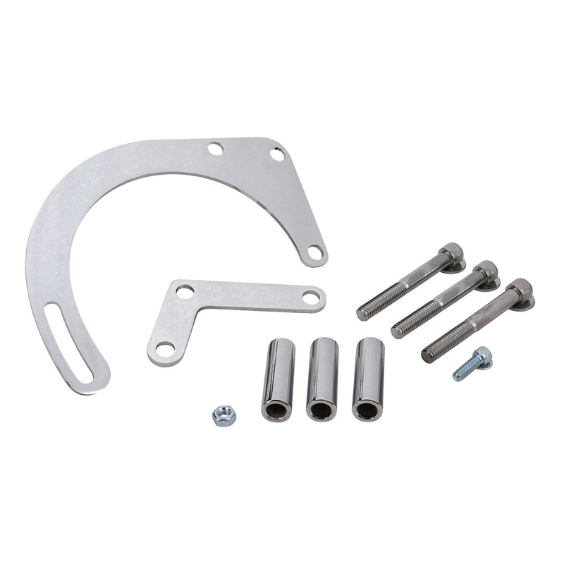 Alternator Bracket Kit, Steel, Chrome, Front Mount, Short Or Long Water Pump, Chevy, Small Block