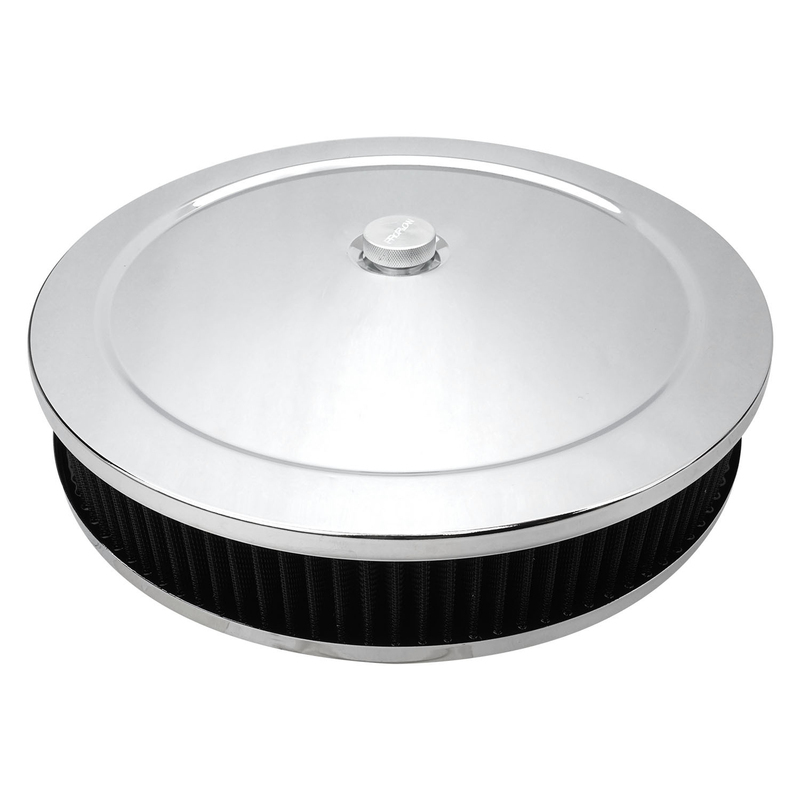 Air Filter Assembly Round 14in. x 3in., Chrome