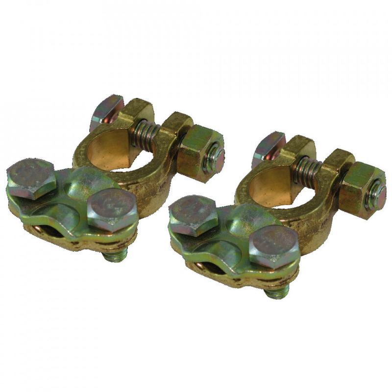 Battery Terminals, Top-Mount, Brass, Pair