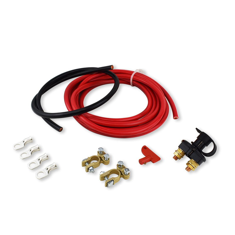 Battery Cable Kit, 8 ft. Red/ 8 ft. Black, 1 Gauge Battery Cables, Battery Terminals, Side Post Adapter, Kit