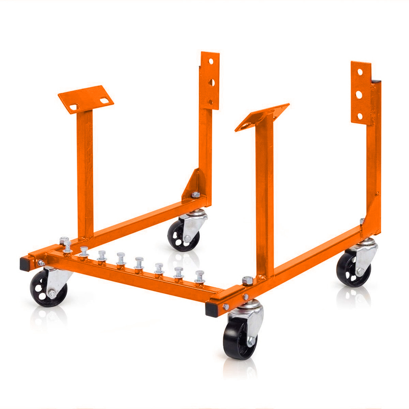 Engine Dolly, Steel, Black Powder coat, Wheels Included, Chevrolet, Small & Big Block, Each