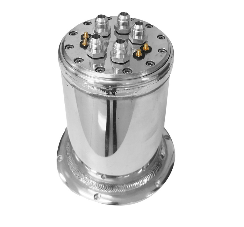 Billet Surge Tank Kit, Round 152 x 230mm Polished, Dual Mount In tank Carrier-AN8 Male, 39mm fuel pumps