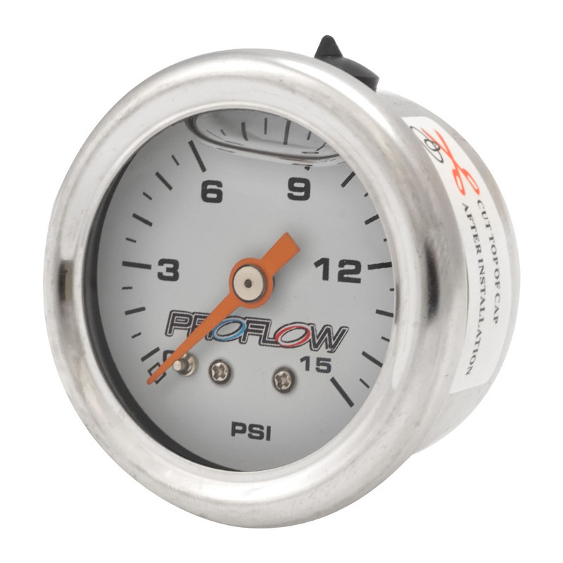 Fuel Pressure Liquid Filled Gauge 0-15PSI Stainless body/White Face