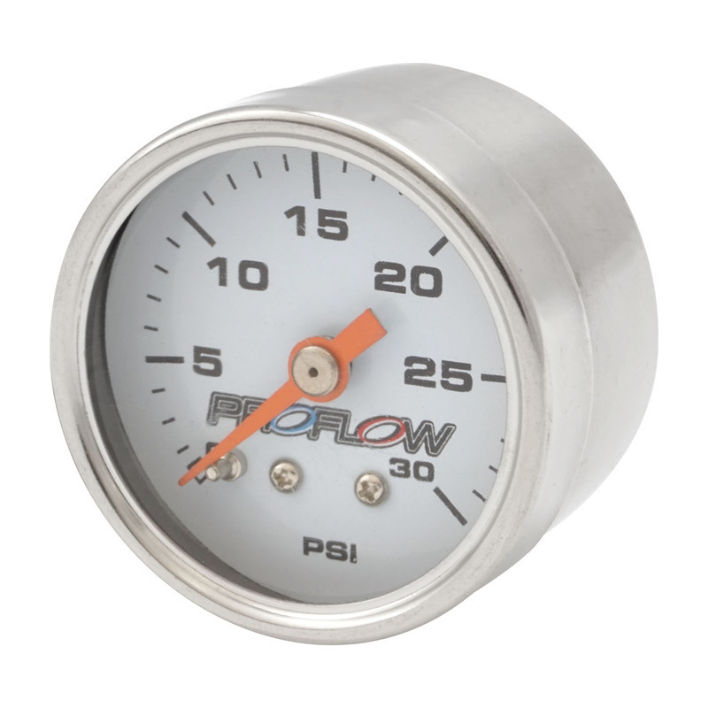 Fuel Pressure Gauge 0-30PSI Stainless body/White Face