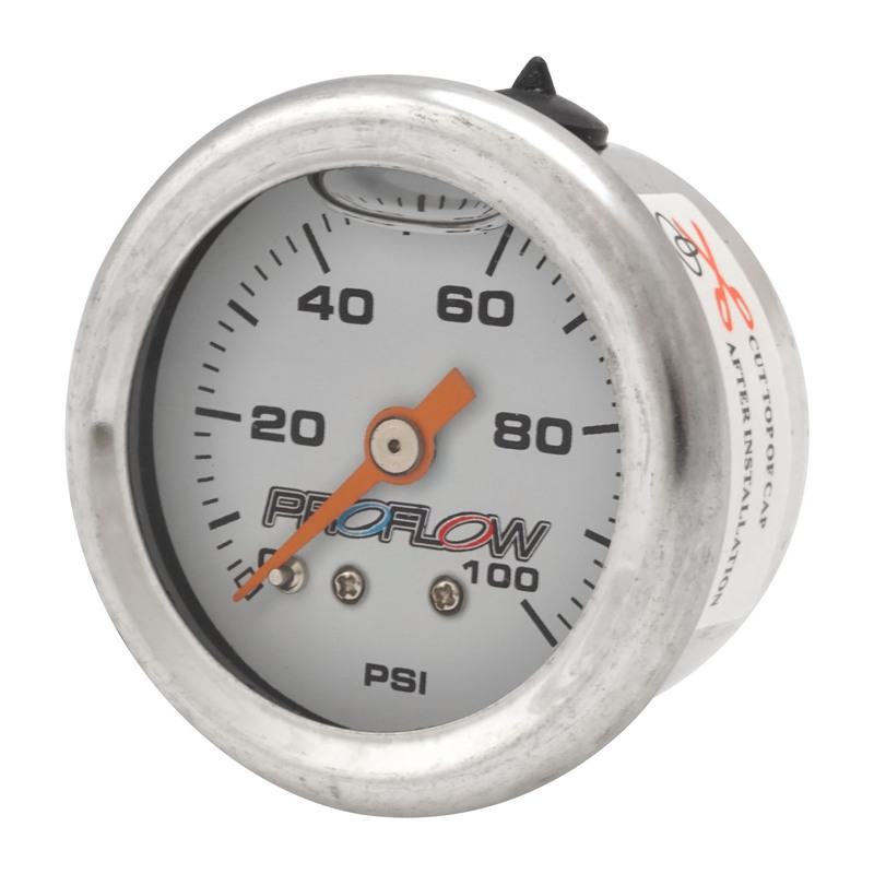 Fuel Pressure Liquid Filled Gauge 0-100SI Stainless Body/White Face