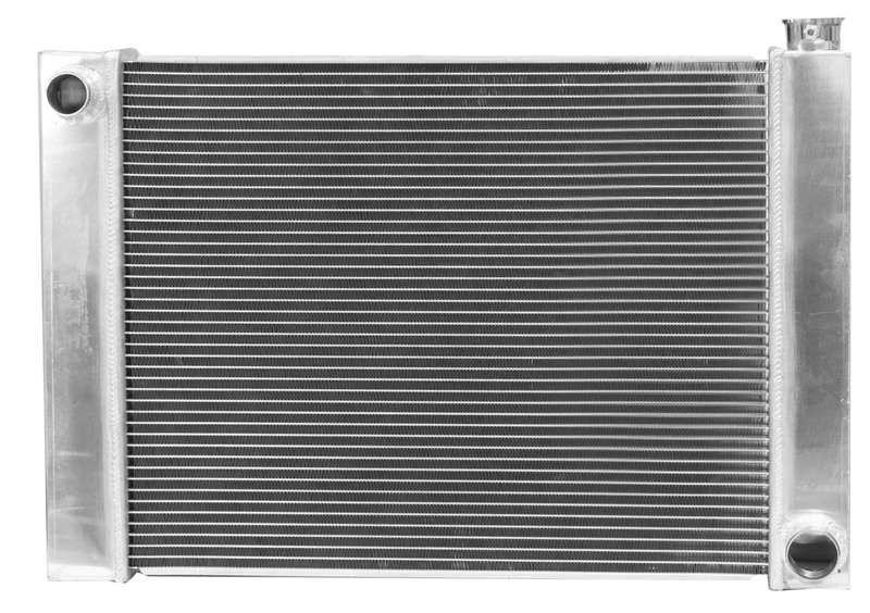 Radiator, Universal, Fabricated Aluminium Tanks, Natural, 24 in. Wide, 19.00in. High, 2.25 in. Thick, Chev Side Inlet & outlets