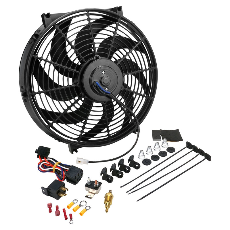 "Thermo Cooling Fan 14"" Curve Blade Reversable 12V 220W 10Amp 1650CFM"