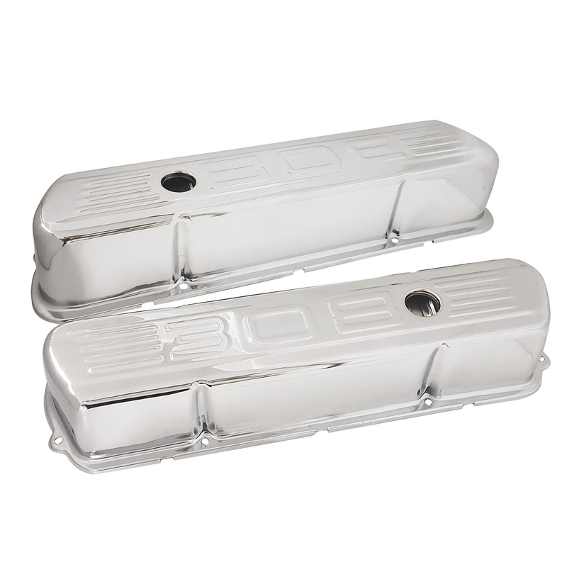 Valve Covers Steel, Tall, Chrome Holden Commodore, 308 Logo, Pair