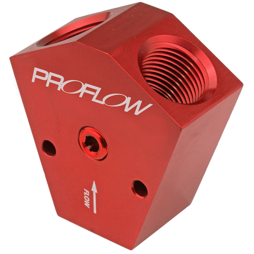 Fuel Block, Y-Type, Billet Aluminium, Red Anodised, 3/8 in. NPT Female Inlet, 3/8 in. NPT Female Outlets, 1/8in. NPT Gauge Port