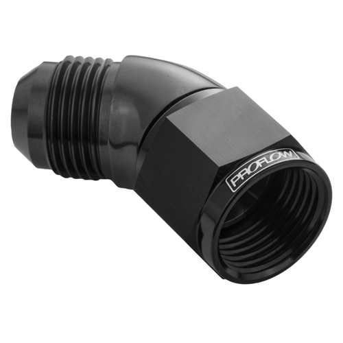 45 Degree Full Flow Adaptor Male To Female -08AN, Black