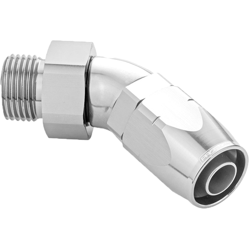 45 Degree Fitting Hose End -16AN Orb Male To -16AN, Polished