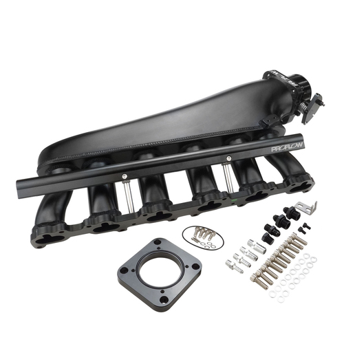 Intake Manifold Kit, Fabricated Aluminium, Black, Ford BA, BF XR6, FG 4.0, Inlet Plenum, 90mm Throttle Body, Fuel Rail Kit