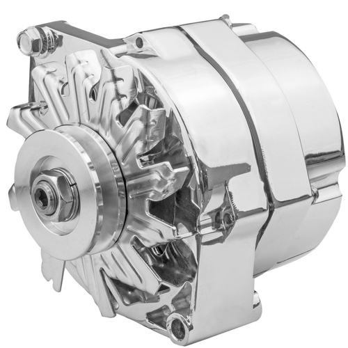 Alternator Power Spark, 140 Amp 1-Wire, Internal Regulator, Chrome, V-Belt, Chev, Holden, Commodore, Torana